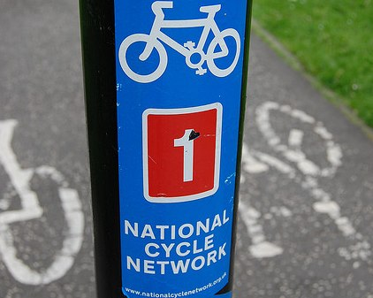 cycle sticker on a lampost
